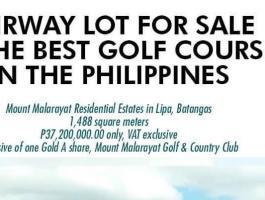 FAIRWAY LOT FOR SALE at MOUNT MALARAYAT GOLF, Lipa, Batangas, Philippines